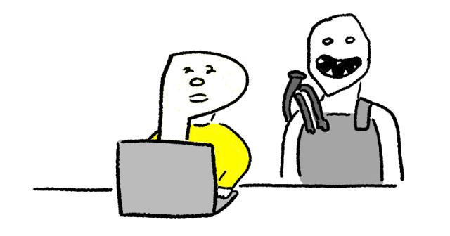 ノートパソコンでDead by Daylightを遊ぶ人のイラスト