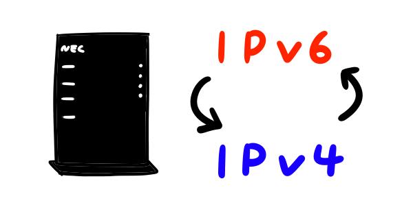 ipv6とipv4をルーターで切り替えるイメージイラスト