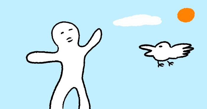 晴れ渡る空でいきいきしている人と鳥のイラスト